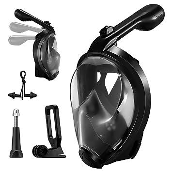 OMORC Máscara de esnórquel de cara completa, máscara de respiración plegable mejorada con soporte de