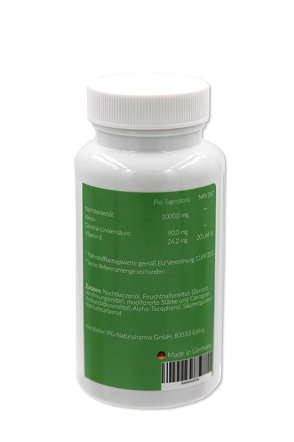 Cápsulas de aceite de onagra - vegetariano - 90 cápsulas que contienen 500 mg de aceite de onagra (prensado en frío) y vitamina E - ácidos grasos omega-6, ...