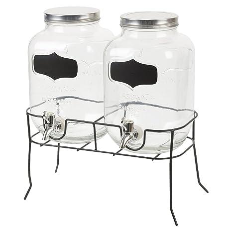 Dispensador de bebidas 2 x 4 litros Ø16 X H26 cm Incluye grifo y soporte Zumo