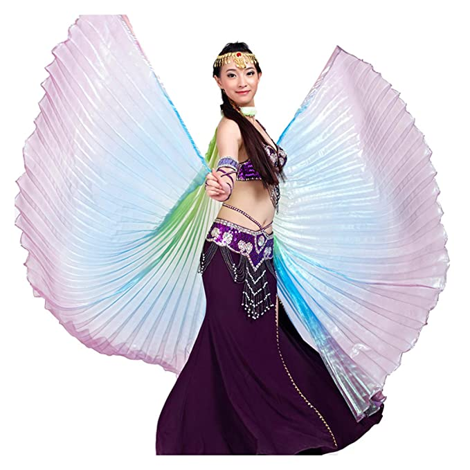 Wuchieal Women's Belly Dance Costume Isis Wings, Professional Dance Wings with Sticks 7#Green-Blue-Purple