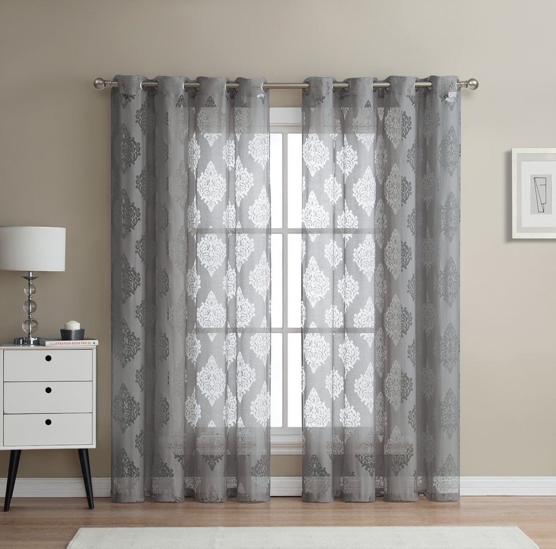 HLC.ME Adel Damask Burnout Window Sheer Voile Curtain Grommet Panels - Set