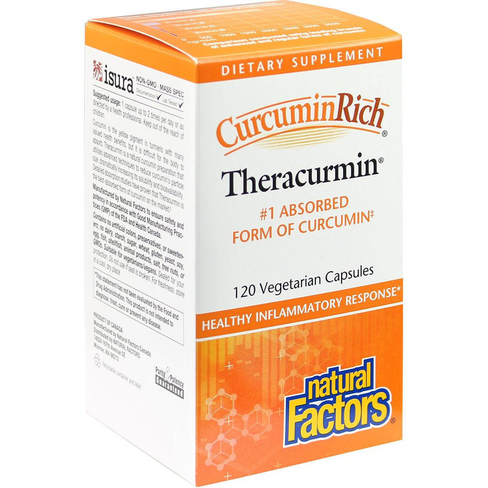 Natural Factors - CurcuminRich Theracurmin 30mg, Inflammation Support for Joints, Heart, and Circulation, 120 Vegetarian Capsules