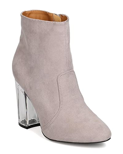 7c3421a8d70 Women Faux Suede Pointy Toe Lucite Block Heel Bootie GA34 - Light Grey  (Size