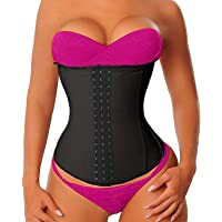 YIANNA Women's Latex Sports Waist Trainer Long Torso Waist Cincher 3 Hook Rows