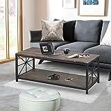 FurnitureR Mesa de Centro Industrial con Estante de Almacenamiento para Sala de Estar, Muebles Decorativos con Aspecto…