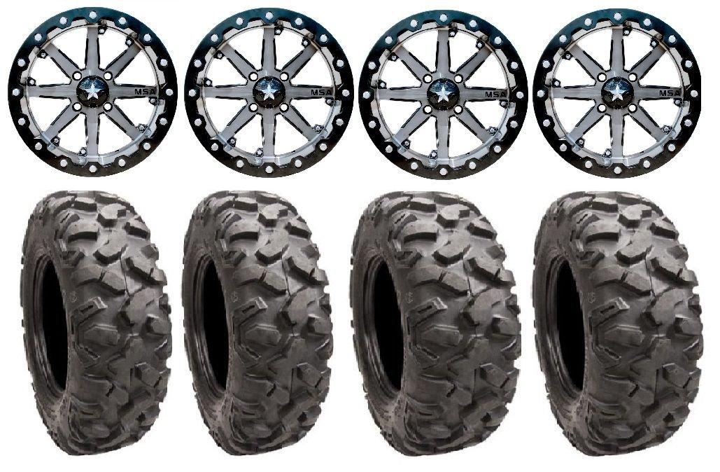 Bundle - 9 Items: MSA Lok 14'' ATV Wheels 27'' Roctane Tires [4x110 Bolt Pattern 10mmx1.25 Lug Kit]