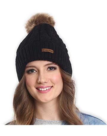 Brook + Bay Faux Fur Pom Pom Beanie - Stay Warm   Stylish with Thick 00fc9a16edc
