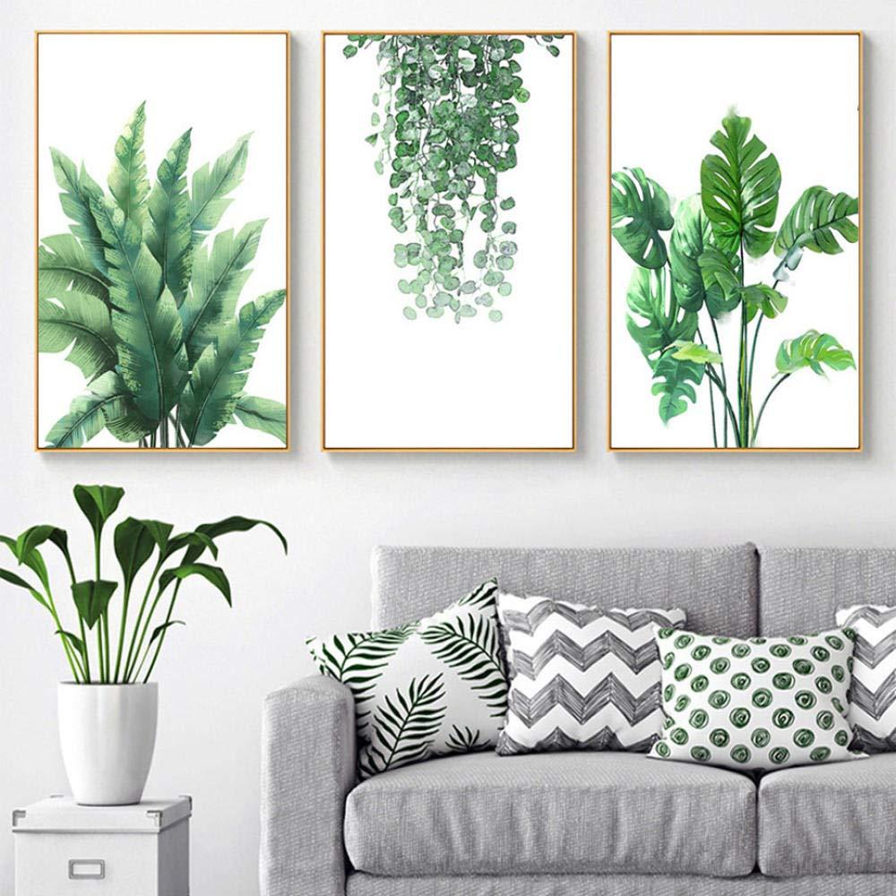 Minimalista Hojas verdes Lienzo de pared Cuadros Cuadros y l/áminas naturales Cuadros del arte de la pared para la sala de estar Decoraci/ón para el hogar 50x70cmx3 sin marco
