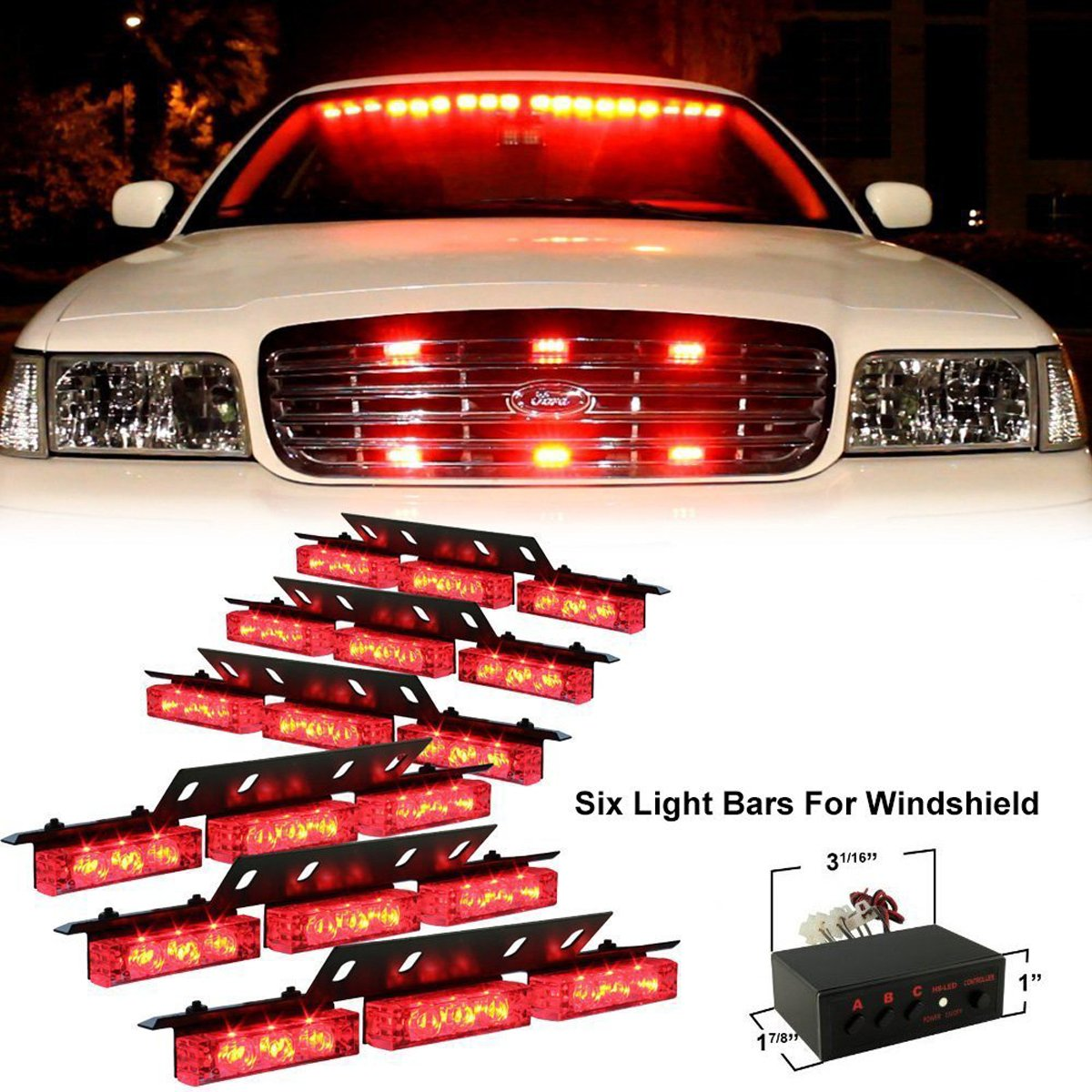 PACASK 54 LED Warning Use Flashing Strobe Lights Emergency Vehicle Strobe Lights Bar for Windshield Dash Grille (yellow)