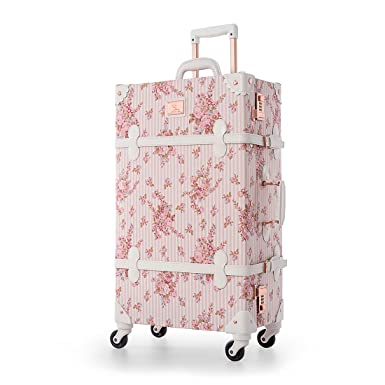 3a64464a4df5 UNIWALKER Pink Floral Pu Leather Vintage Carry On Luggage with Wheels  (20 quot