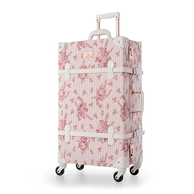 "UNIWALKER Pink Floral Pu Leather Vintage Carry On Luggage with Wheels (20"", Pink floral)"