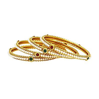 Crunchy Fashion Ethnic Traditional Bollywood Fashion Jewelry Gold Tone  Polki Indian Partywear Bangles for Women