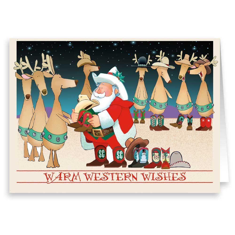 Amazon.com: Howdy! Christmas Card - Western 18 Cards and Envelopes ...