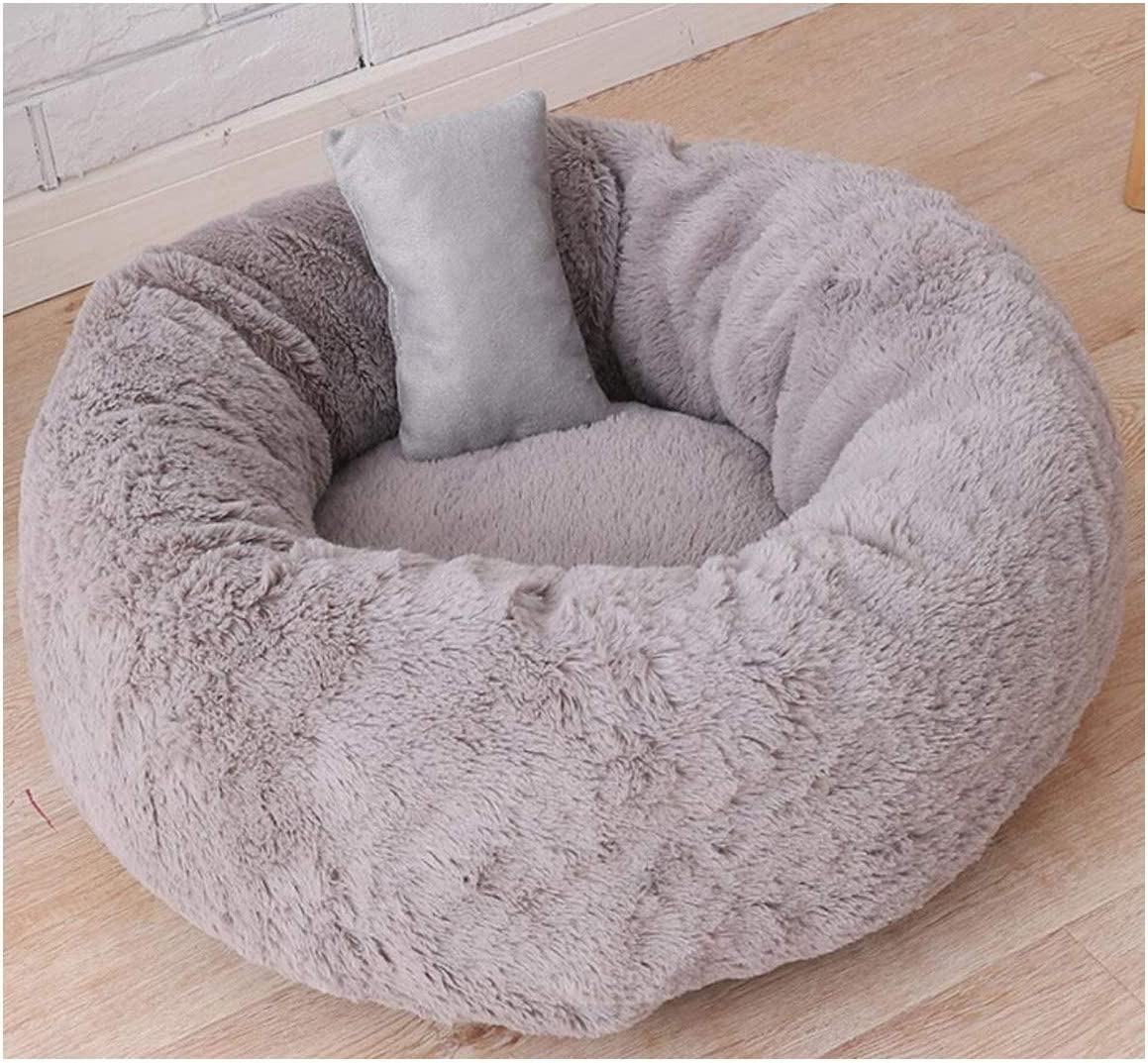 Removable Foot Claw Round Shape Pet Dog Beds Cat Rest House Cattery Warm Next Puppy Pets Sleeping Sofa Cats Mat Cushion S/M/L,Round Grey 2,L (As Description)