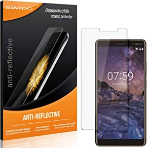 SWIDO® Protector de Pantalla para Nokia 7 Plus [Anti-Reflex], [3 Piezas] Antirreflectante, Mate, Anti-Arañazos, Anti-Huella Dactilar - Película Protectora