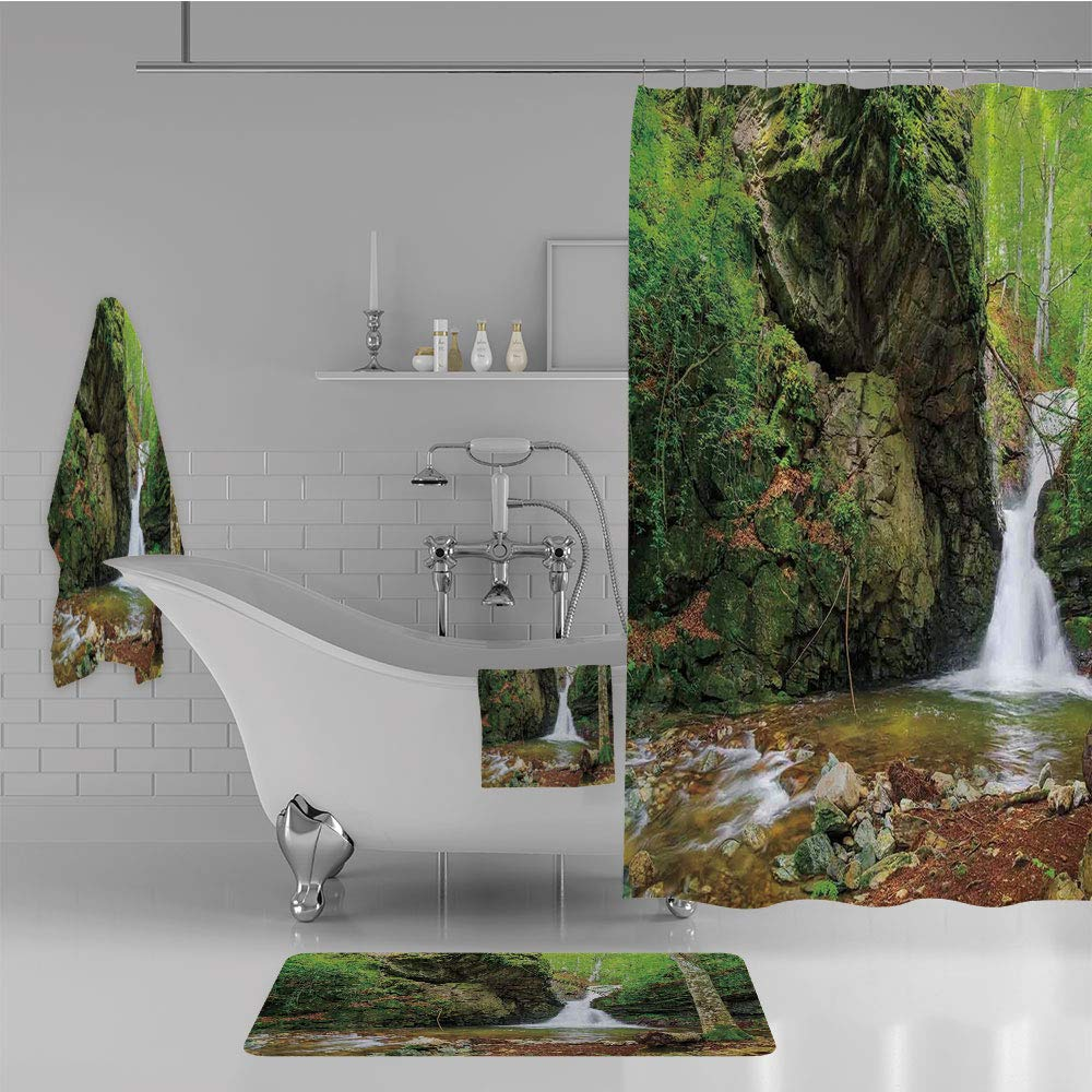 Bathroom 4 Piece Set Shower Curtain Floor mat Bath Towel 3D Print,Spring Like Winter in Bulgaria with Trees,Fashion Personality Customization adds Color to Your Bathroom.