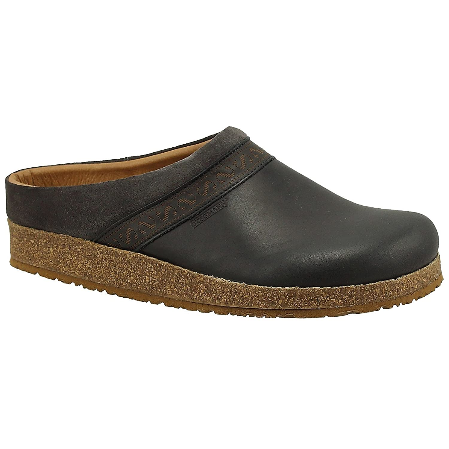 Charcoal Stegmann Women's Leather Linz Clog with Cork Sole