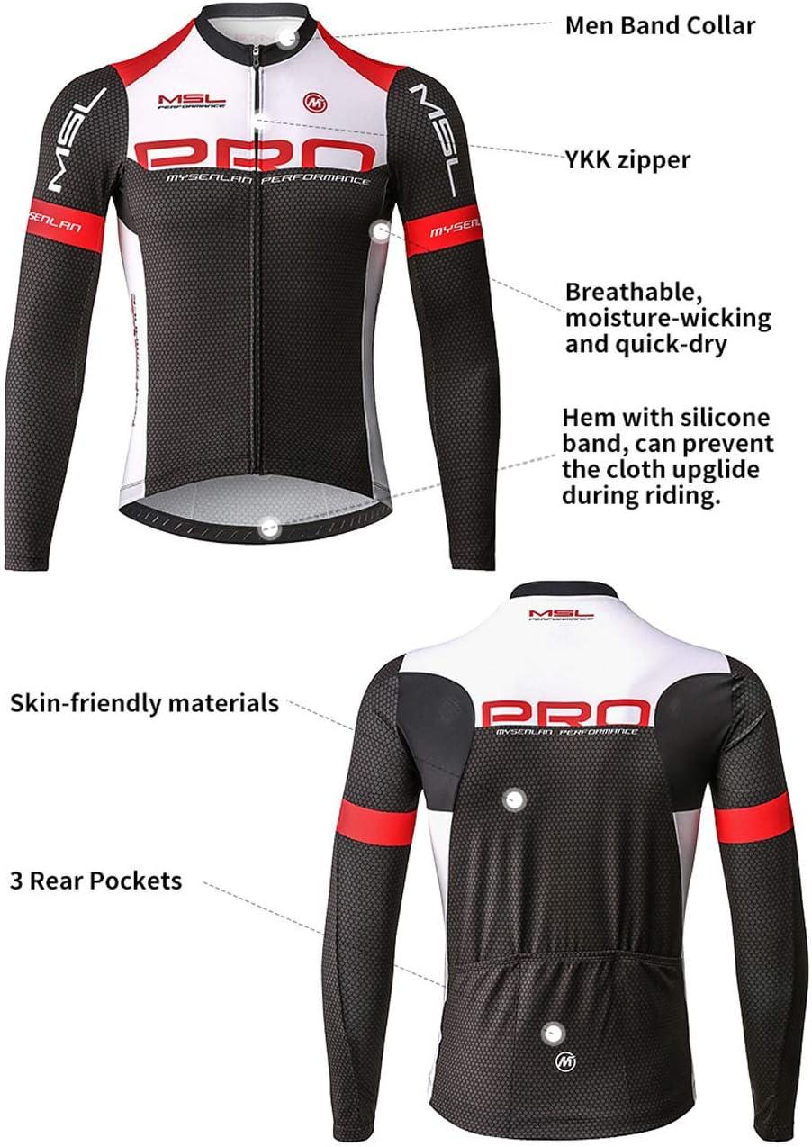 Mysenlan Hombre Jersey de Ciclismo Maillot Ropa Manga Larga para Bicicleta Verano Cycling Conjunto con Pantalones