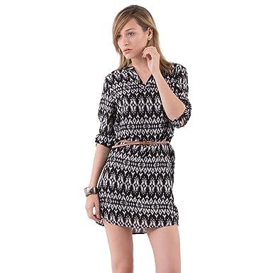 084ef61eed6 Mim - Robe fluide imprimée - Femme - 34 - NOIR  Amazon.fr  Vêtements ...