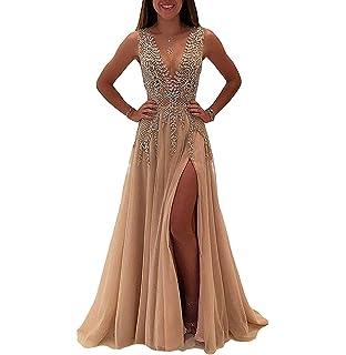 Nina Ding 2018 Prom Dresses for Women Formal Slit Luxury Evening Dresses Long Champagne NND001