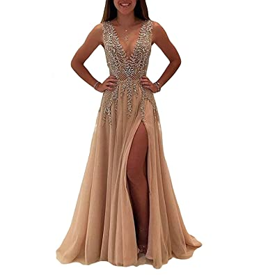 Nina Ding 2018 Prom Dresses for Women Formal Slit Luxury Evening Dresses Long Champagne NND001