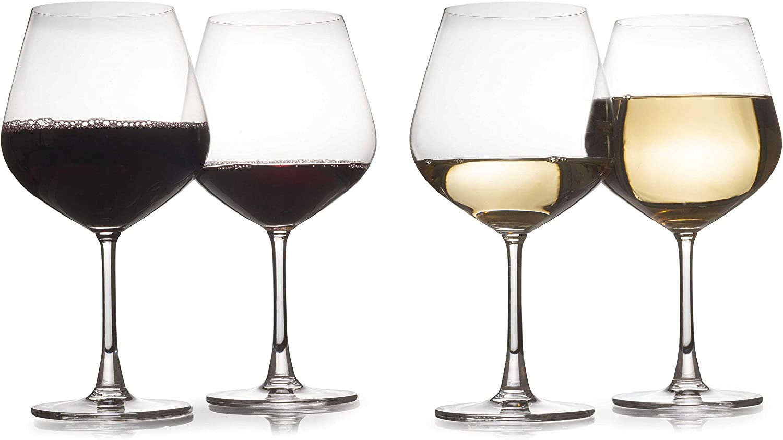 Set of 4 - Modern Laser Cut Rim 24 Oz Wine Glasses Made of Crystal With Seamless Joints (Short Stem)