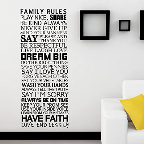 Vinyl Family Wall Decal Family Rules Saying Family Love Letters Quotes Mural Wall Art Sticker Black Home Kitchen