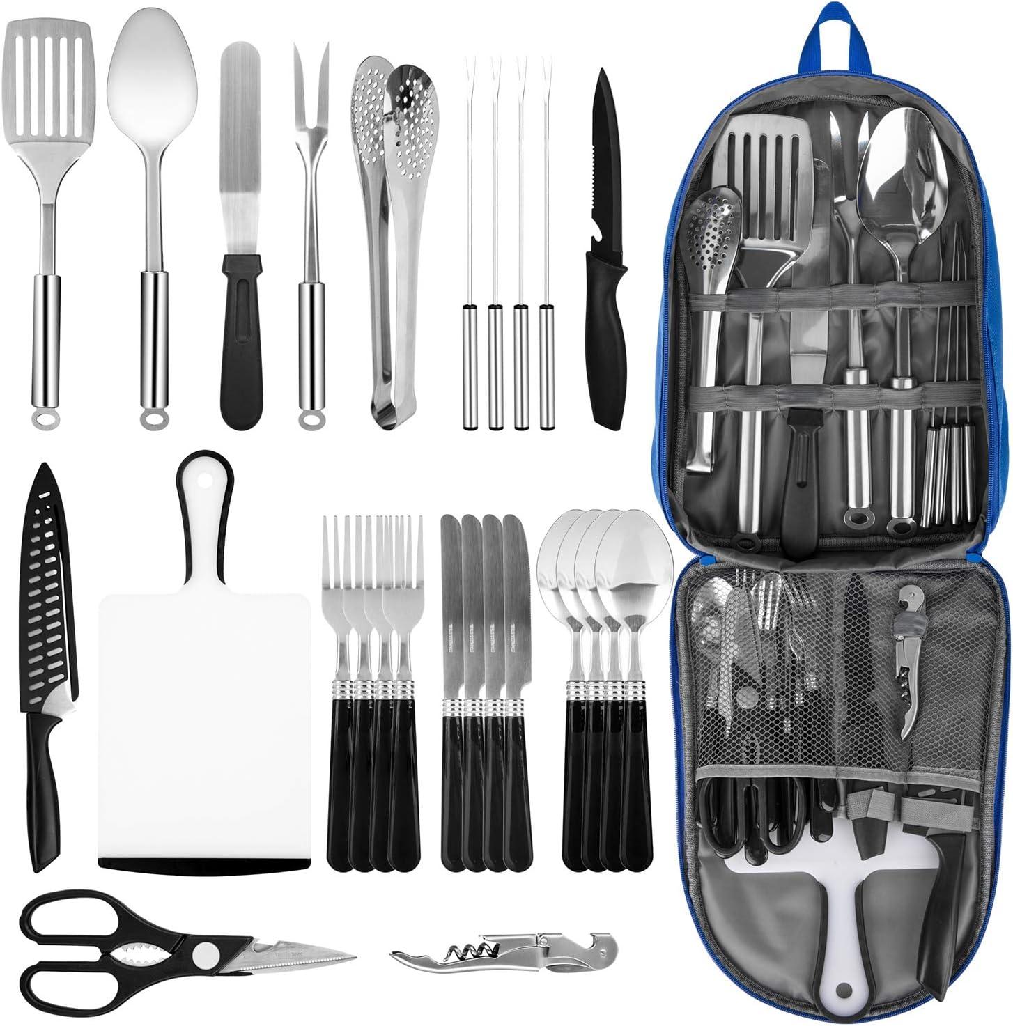 Juego de utensilios de cocina de camping portátil, 27 piezas, acero inoxidable, organizador de utensilios de cocina y parrilla, ideal para viajes, ...