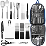 Portable Camping Kitchen Utensil Set, Stainless Steel Outdoor Cooking and Grilling Utensil Organizer Travel Set Perfect for T