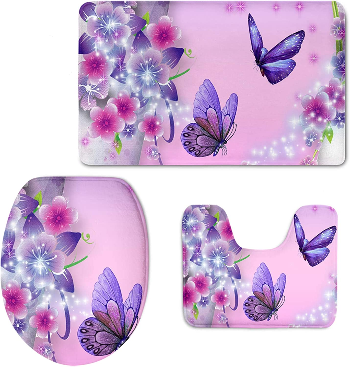 BEAUTIFUL BUTTERFLY NOVALTY NON SLIP 60CMX110CM SILVER PINK TEAL QUALITY RUGS