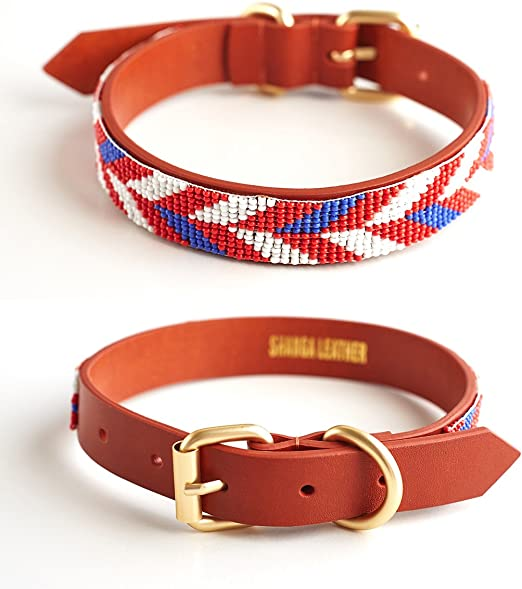 Purrlala Leather Dog Collar | Hand Beaded on Fine Leather | Polished Brass Accents | D Ring |Small Dogs | Medium Dogs | Big Dogs | Handmade