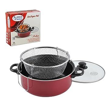 aramco Alpine Gourmet cocina freidora olla con tapa de cristal, 5 Quart, rojo: Amazon.es: Hogar