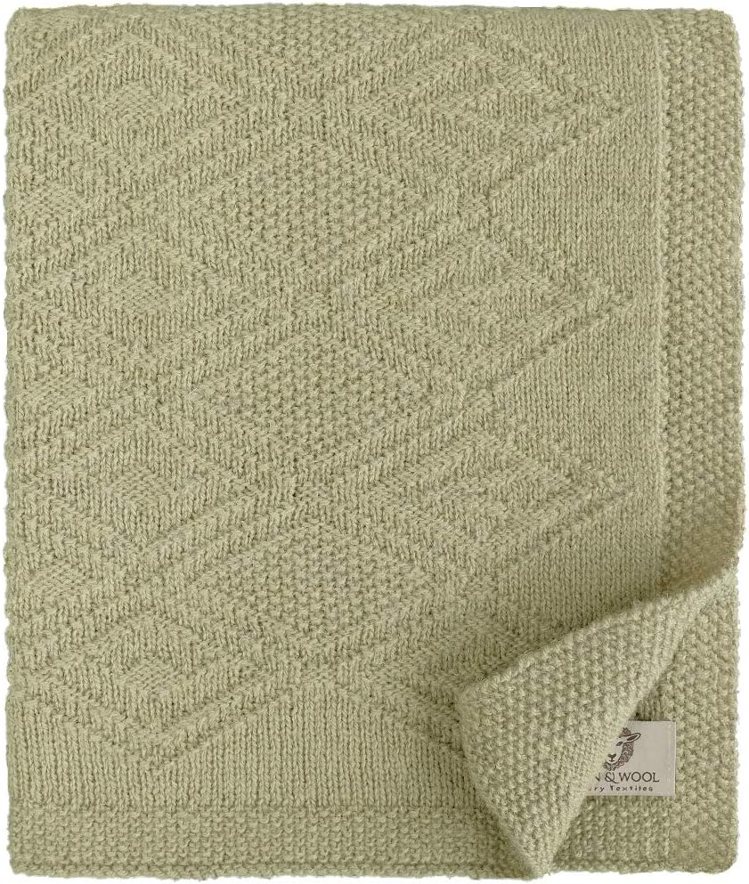 Linen /& Cotton Mantita de Arrullo//Manta de Cama de Punto//Manta de Forro para Beb/é Reci/én Nacido Lilou Cochecito Ideal para Cuna 100/% Pura Lana de Nueva Zelanda Beige Silla de Paseo 85 x 65cm