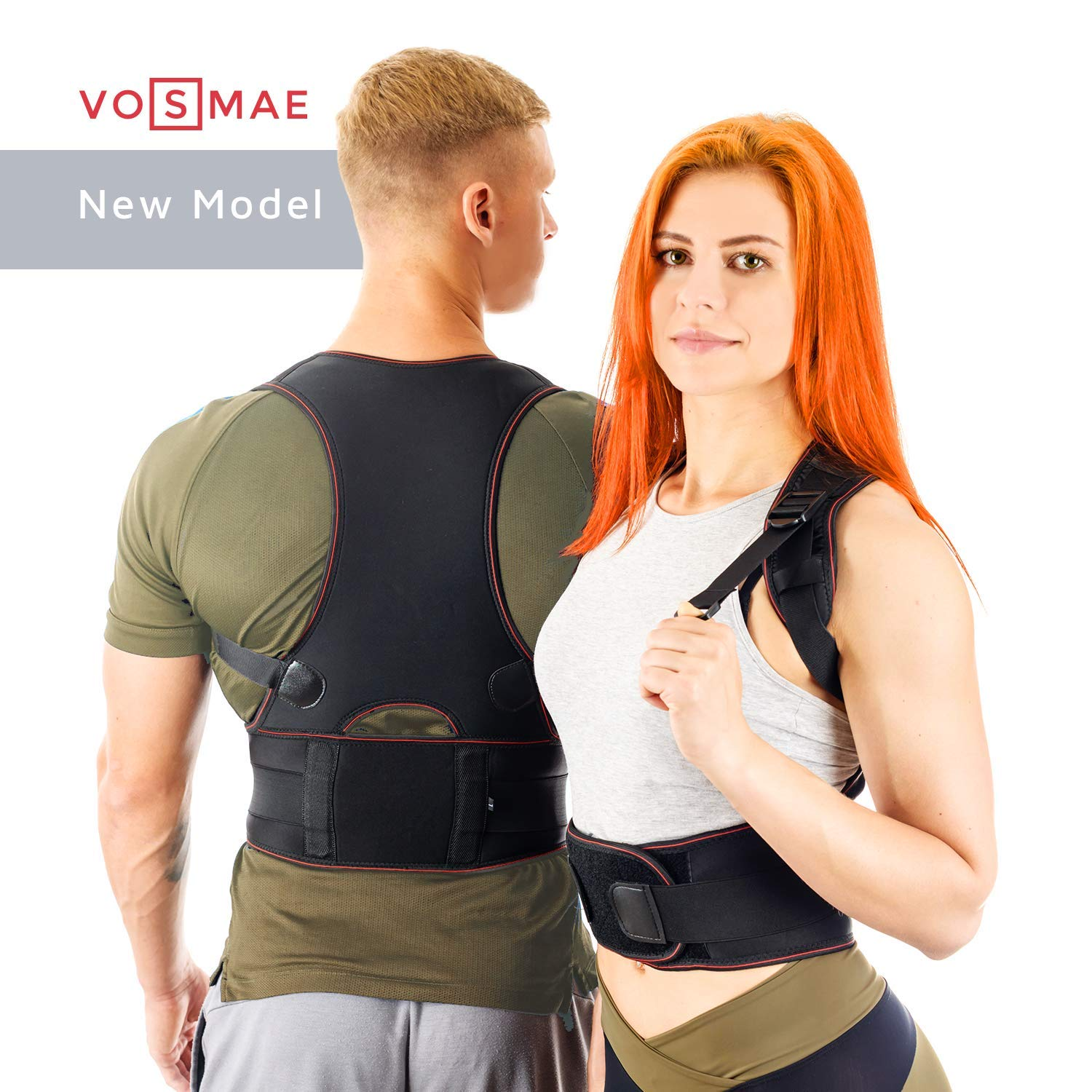 VOSMAE Posture Corrector Back Brace for Woman Men - Improve Universal Comfortable Large Fully Adjustable Spine Corrector - Clavicle Support Improve Bad Posture Shoulder Alignment and Pain Relief (L)