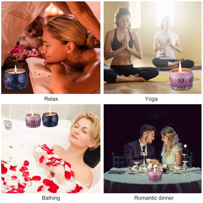 Amexi Duftkerzen, Lavendel, Rose Duftkerzen, Tragbare Reise Zinn Kerzen, 100% Sojawachs Kerze für Stressabbau und Aromatherapie, Kerzen Set - 2 Pack