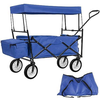 TecTake Carro de Mano Plegable con Techo carretillade Transporte para Utensilios Azul (Azul | No. 402316)