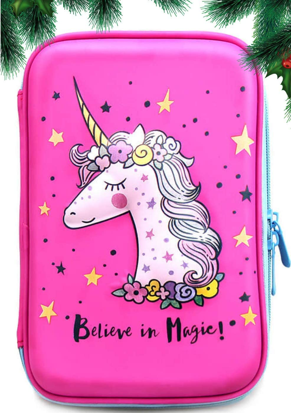 Unicorn Pencil Case | Girls Cute Unique Design Pen Holder Hight Quality | Stationary Organizer with Compartments (Hardtop) | Large Capacity Pink School Zipper Pouch