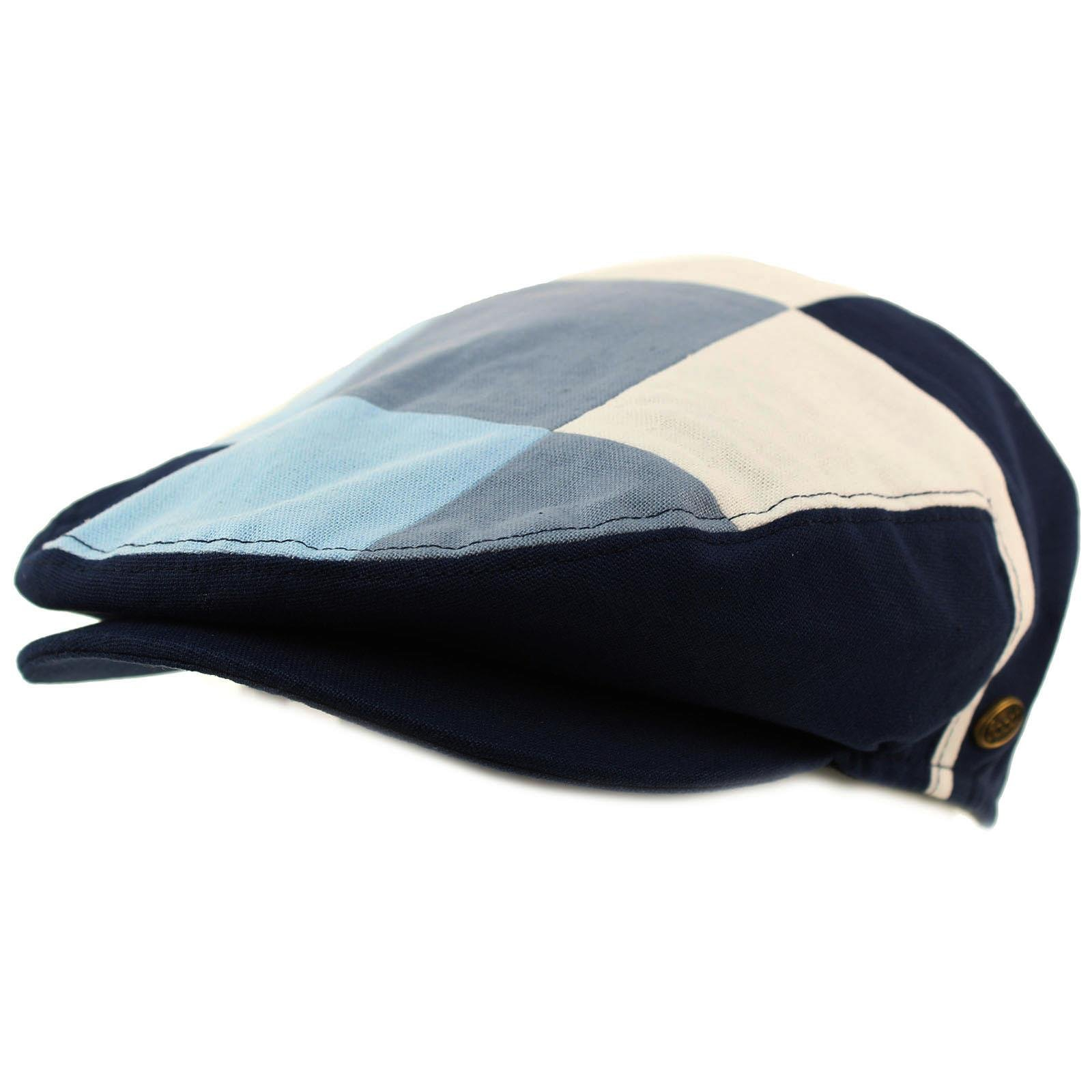 SK Hat shop Men's Cotton 14 Panel IVY Checkerboard Plaid Driver Cabby Flat Cap Hat Large Navy