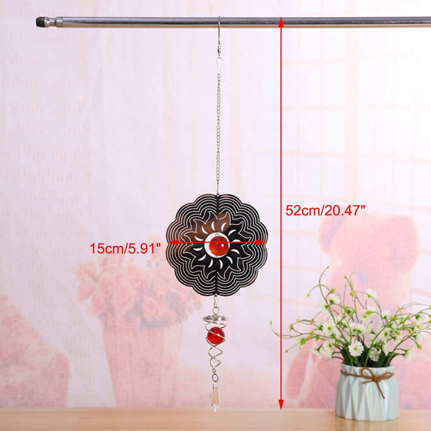 3D Metal Wind Chime Whirl Moving Rotating Hanging Decor Window Room Decoration