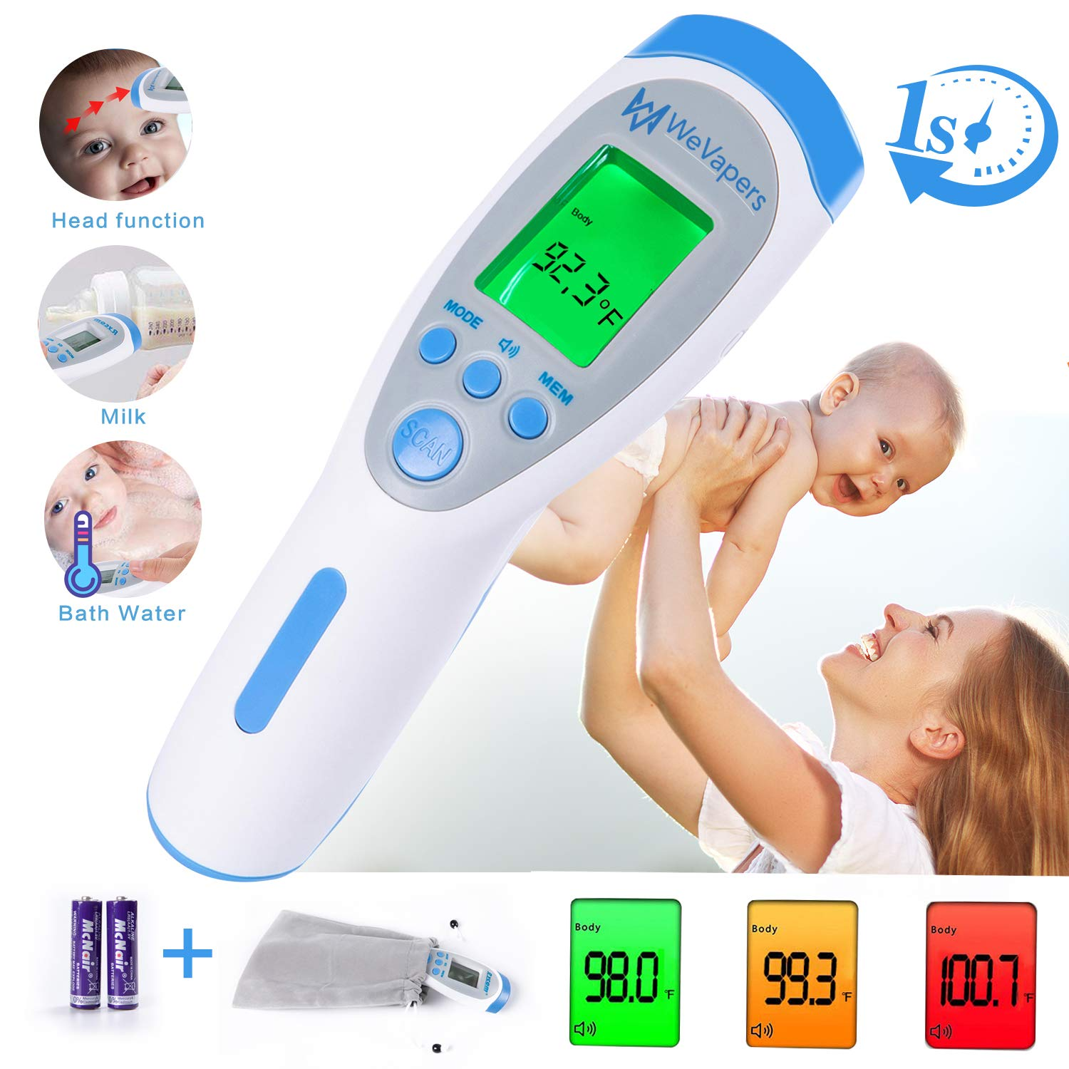 Forehead Thermometer, Digital Thermometer Non Contact Medical Infrared Thermometer for Fever, 3 Modes Body/Surface/Room Baby Thermometer, LCD Display Infrared Thermometer by Wevapers