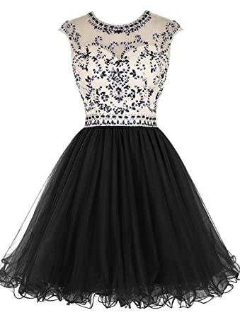 46d3cea56148 ALAGIRLS Beaded Homecoming Dress Short Tulle Prom Cocktail Gowns Hollow  Back Black US2
