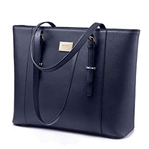 Laptop Bag for Women, Large Computer Bags for Women, Laptop Purse Fit Up to 15.6 Inch, Laptop Briefcase for Women with Padded Compartment, Professional Laptop Tote Work Bags, Navy