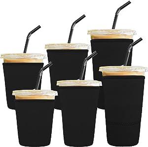 Ruisita 6 Pack Reusable Iced Coffee Sleeves Drink Insulator Sleeves Neoprene Cup Cover Drink Holders Cup Coolers for Cold Beverages, Coffee, Milktea, Black