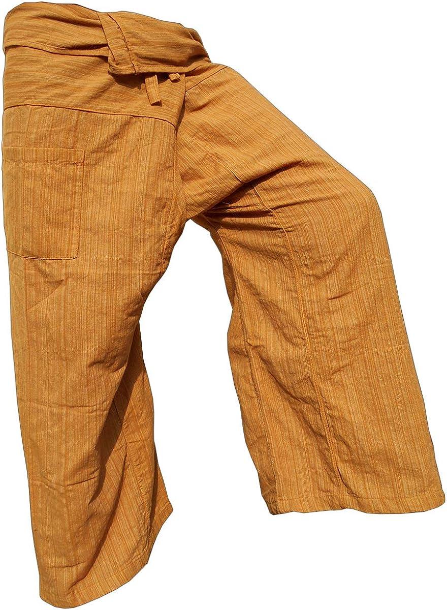 Pantaloni a righe modello pescatore tailandese in vero cotone robusto si adattano a una statura da 160 cm a 195 cm con tasca frontale Panasiam Thai Fisherman