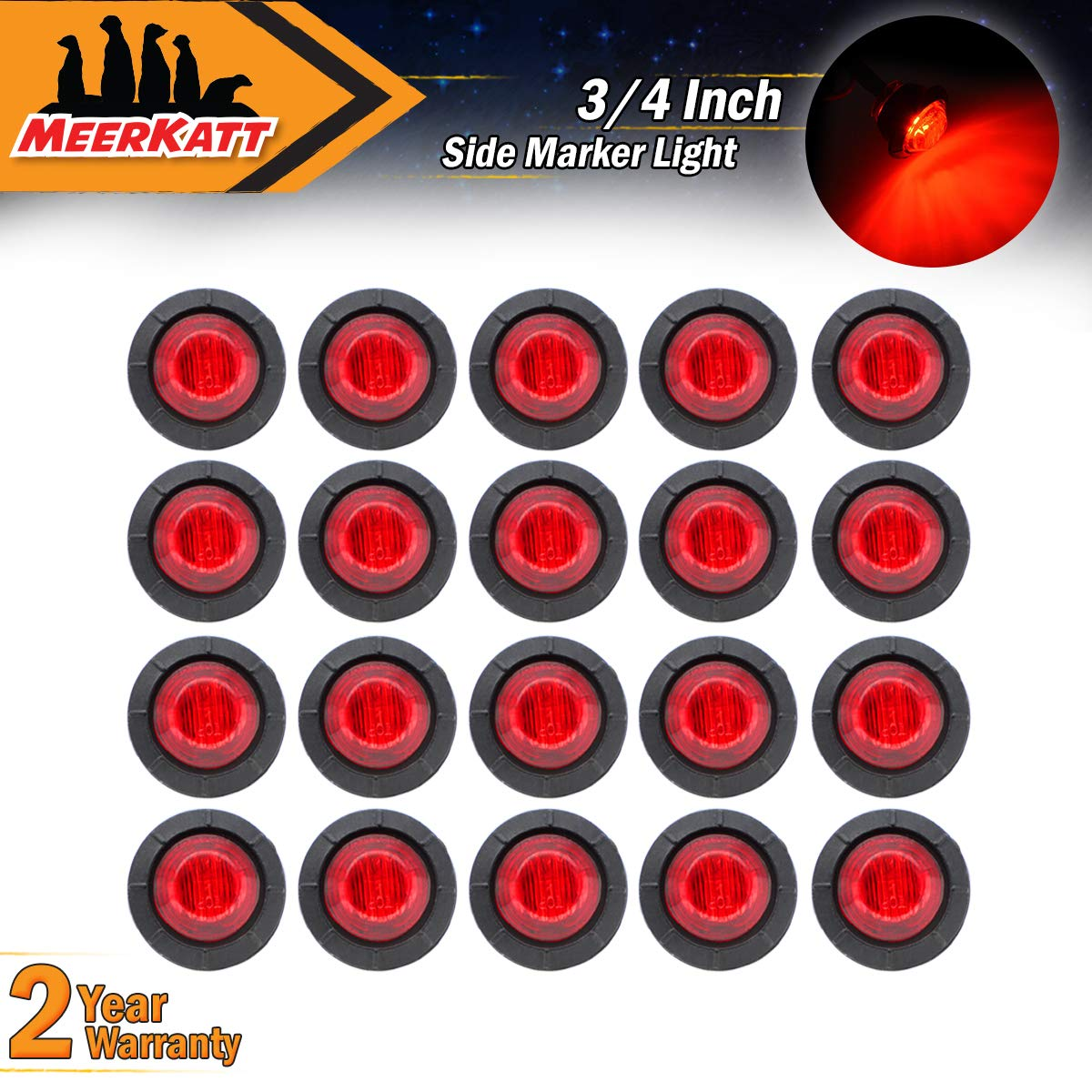 Meerkatt (Pack of 20) 3/4' Inch Miniature Round 10 Red + 10 Green LED Bullet Clearance Lamp Penny Side Marker Universal Indicator Light Waterproof Lorry Flatbed Boat Truck RV Trailer Grommets 12V DC