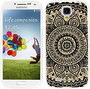 ChiChiC S4 Case,Galaxy S4 Case,360 Full Protective Anti Scratch Slim Flexible Soft TPU Gel Rubber Clear Cases Cover with Design for Samsung Galaxy S4,Black Henna Mandala Floral Flower on Yellow