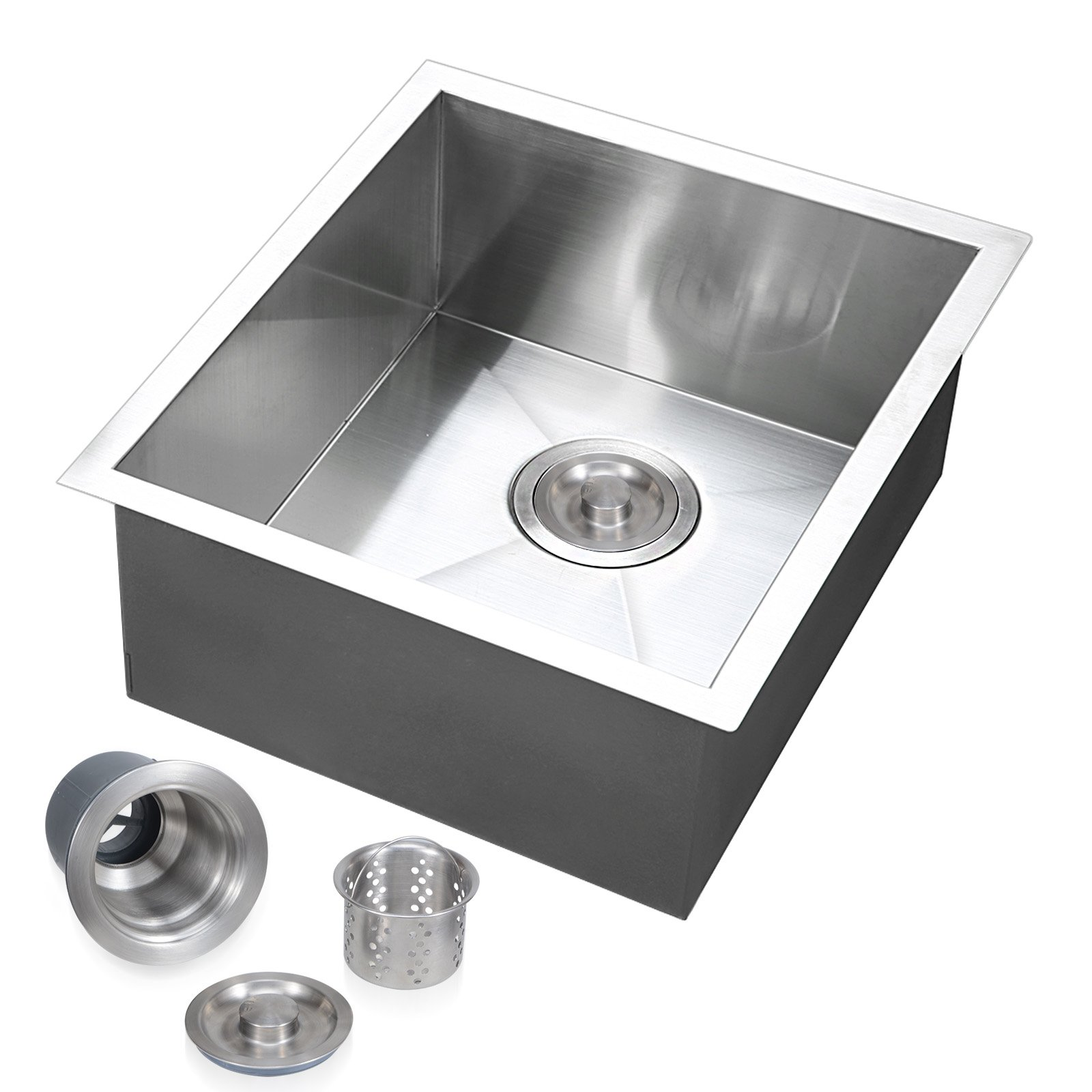 Voilamart 17'' x 17'' Single Bowl Handmade Stainless Steel Kitchen Sink 19 Gauge - Undermount Topmount Flushmount - Laundry Utility Sink