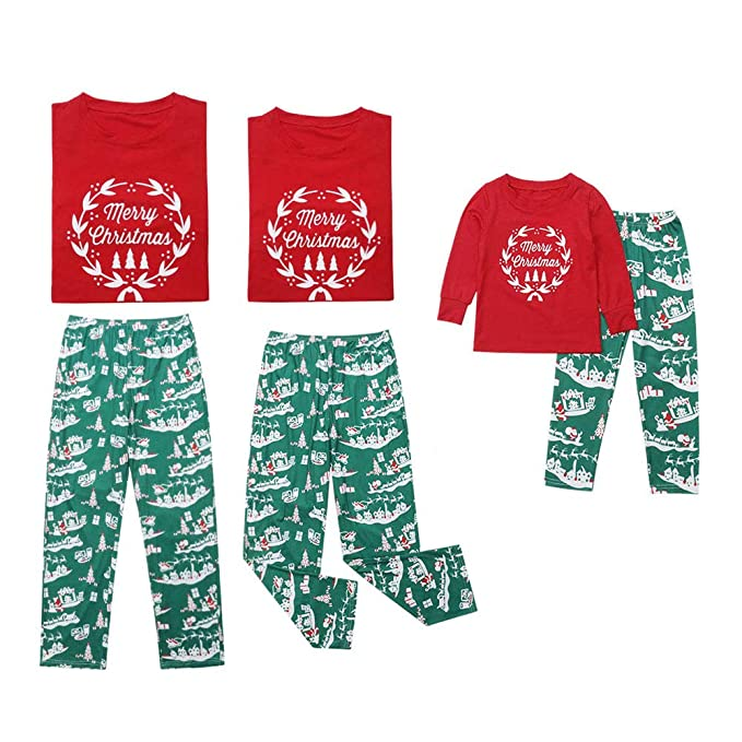 Merry Christmas Letter Y.Do Cross Family Matching Long Sleeve Pajamas Set Merry