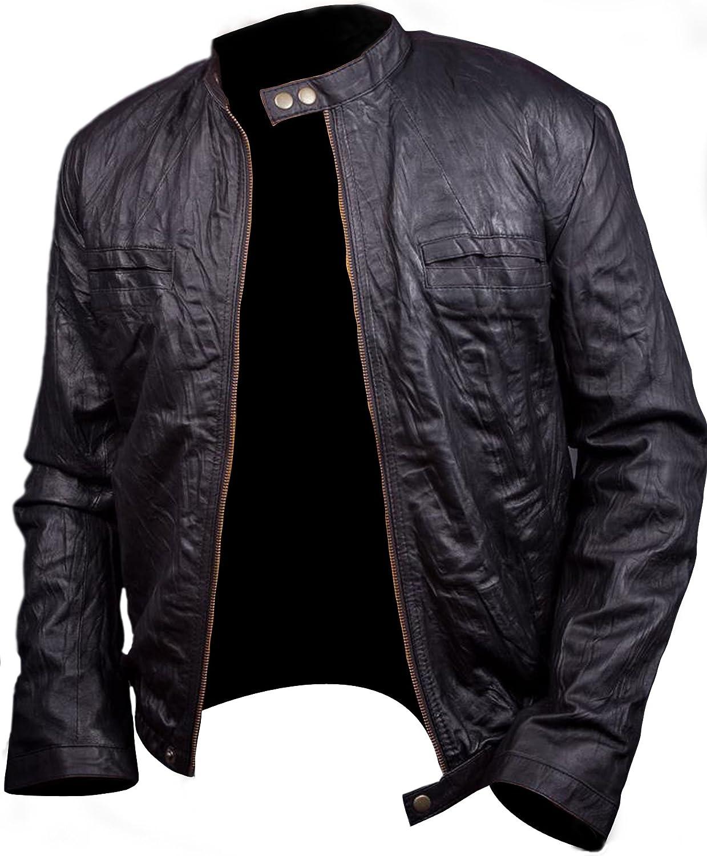Amazon.com: 17 Again Jacket, Zac Efron Oblow Wrinkled Leather Jacket: Clothing