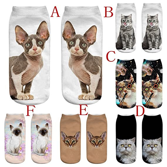 Amazon.com: Cute Socks, Hongxin Harajuku Digital Printing 3D Socks Women Casual Space Cat Socks Unisex Animal Cut Ankle Socks (H2)